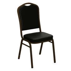 Crown Back Banquet Chair in E-Z Sierra Black Vinyl - Gold Vein Frame