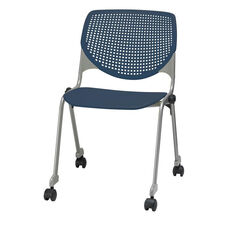 2300 KOOL Series Stacking Poly Silver Steel Frame Armless Chair with Perforated Back and Casters - Navy