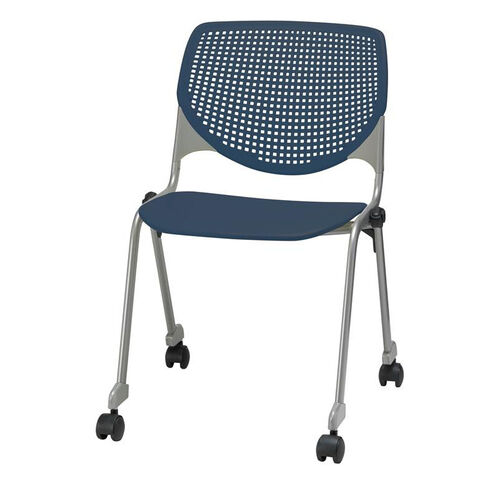 Our 2300 KOOL Series Stacking Poly Silver Steel Frame Armless Chair with Perforated Back and Casters - Navy is on sale now.
