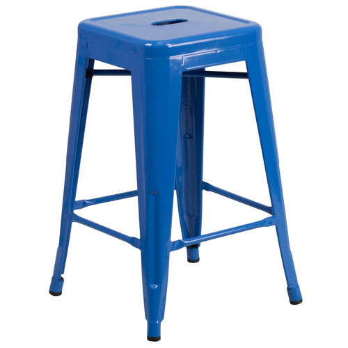 "Our Commercial Grade 24"" High Backless Blue Metal Indoor-Outdoor Counter Height Stool with Square Seat is on sale now."