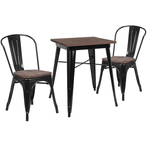 "Our 23.5"" Square Black Metal Table Set with Wood Top and 2 Stack Chairs is on sale now."
