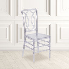 Flash Elegance Crystal Ice Stacking Chair with Designer Back - Event Chair - UV Resistant