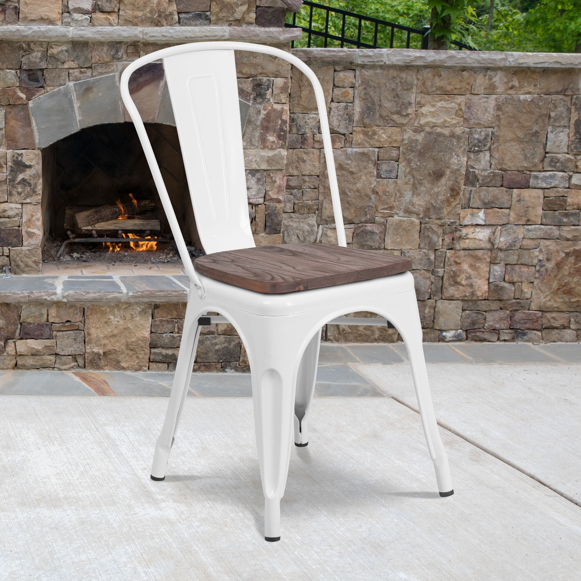 White Metal Stack Chair Ch 31230 Wh Wd Gg Stackchairs4less Com