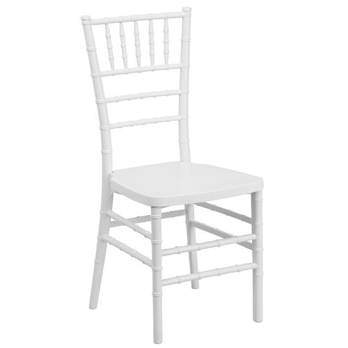 "HERCULES PREMIUM Series White Resin Stacking Chiavari Chair with <span style=""color:#0000CD;"">Free </span> Cushion"