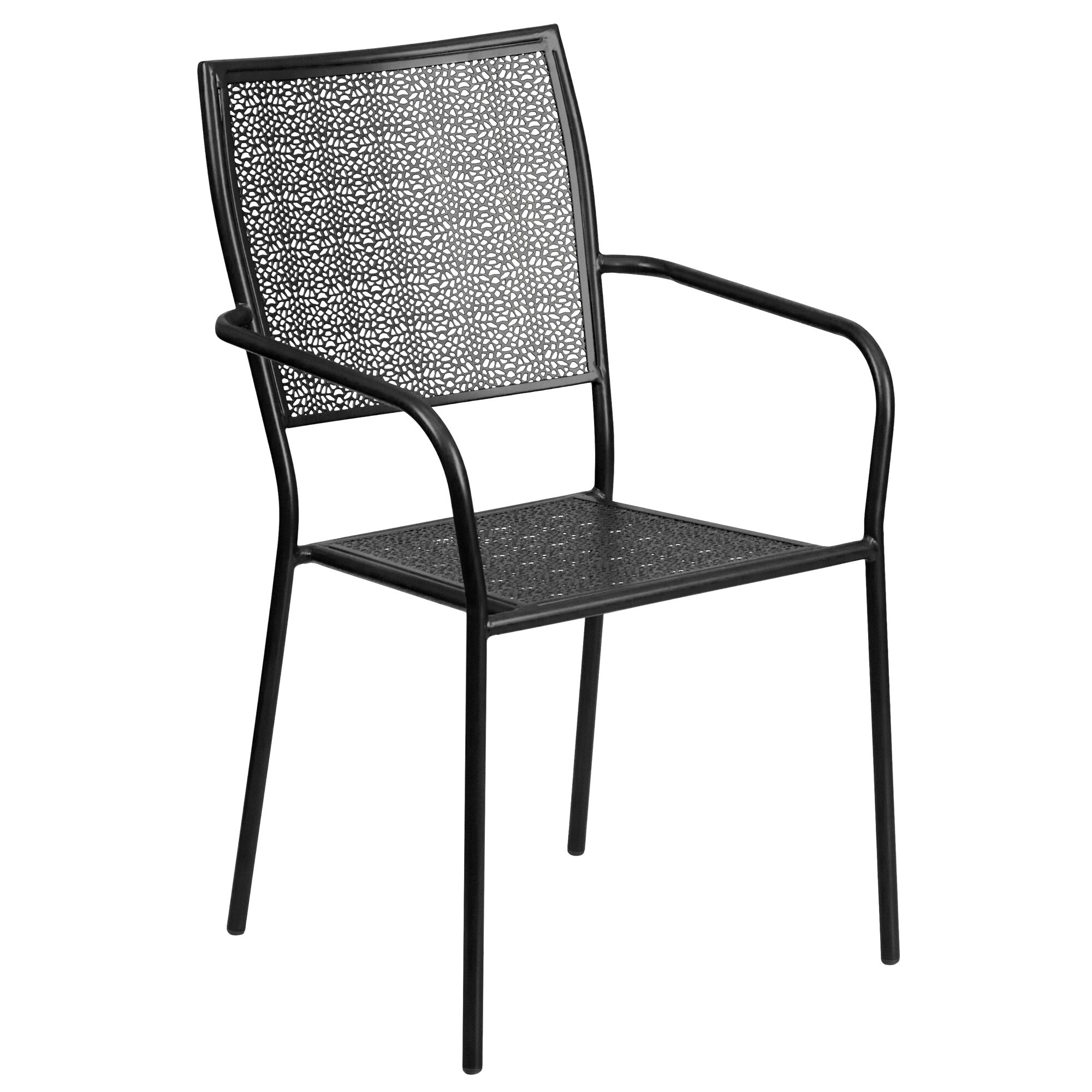 Swell Commercial Grade Black Indoor Outdoor Steel Patio Arm Chair With Square Back Machost Co Dining Chair Design Ideas Machostcouk