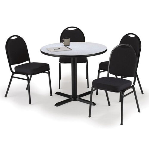 Our Round Laminate Table Set with X-Base and Black Fabric Upholstered Stack Chairs - Seats 4 is on sale now.