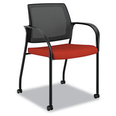HON® Ignition Series Mesh Back Mobile Stacking Chair - Poppy Fabric Upholstery