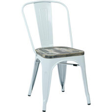 OSP Designs Bristow Metal Chair with Wood Seat - 2-Pack - White and Vintage Ash Crazy Horse