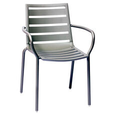 South Beach Stackable Outdoor Arm Chair Titanium Silver