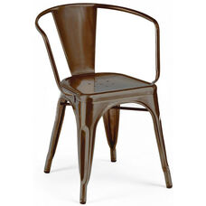 Dreux Rustic Matte Stackable Steel Dining Chair with Arms - Set of 4