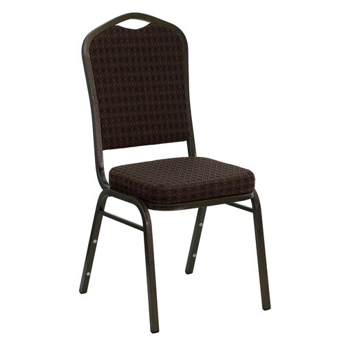 Our HERCULES Series Crown Back Stacking Banquet Chair in Brown Patterned Fabric - Gold Vein Frame is on sale now.