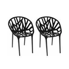 Branch Stackable Outdoor Black Accent Chair - Set of 2