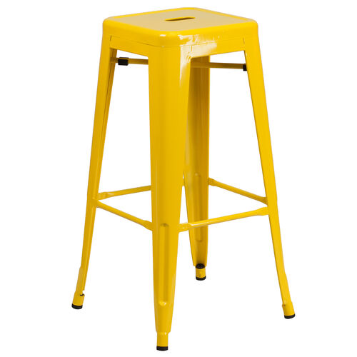 """Our Commercial Grade 30"""" High Backless Yellow Metal Indoor-Outdoor Barstool with Square Seat is on sale now."""