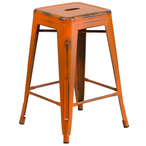 "Our Commercial Grade 24"" High Backless Distressed Orange Metal Indoor-Outdoor Counter Height Stool is on sale now."