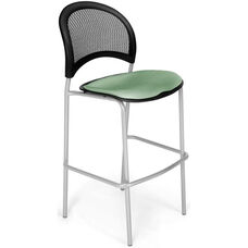 Moon Cafe Height Chair with Fabric Seat and Silver Frame - Sage Green