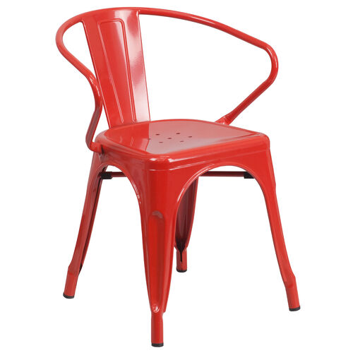 Our Red Metal Indoor-Outdoor Chair with Arms is on sale now.