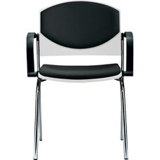 Eddy 4-Post Chrome Stack Side Chair with Upholstered Back and Seat Pads