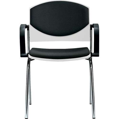 Our Eddy 4-Post Chrome Stack Side Chair with Upholstered Back and Seat Pads is on sale now.