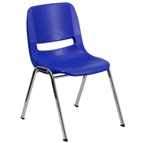 Our HERCULES Series 440 lb. Capacity Navy Ergonomic Shell Stack Chair with Chrome Frame and 14