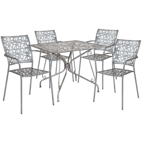 """Our Agostina Series 35.25"""" Square Antique Silver Indoor-Outdoor Steel Patio Table with 4 Stack Chairs is on sale now."""