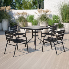 31.5'' Square Glass Metal Table with 4 Black Metal Aluminum Slat Stack Chairs