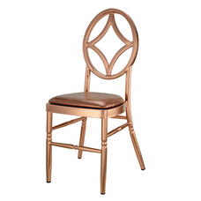 Velika Series Stackable Diamond Aluminum Dining Chair with Rose Gold Vinyl Cushion - Rose Gold