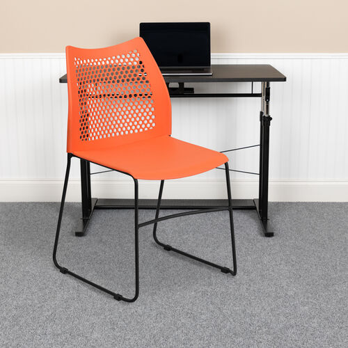 Our HERCULES Series 661 lb. Capacity Orange Stack Chair with Air-Vent Back and Black Powder Coated Sled Base is on sale now.