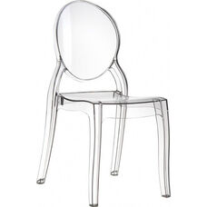 Elizabeth Polycarbonate Stackable Dining Chair with Oval Back - Transparent Clear