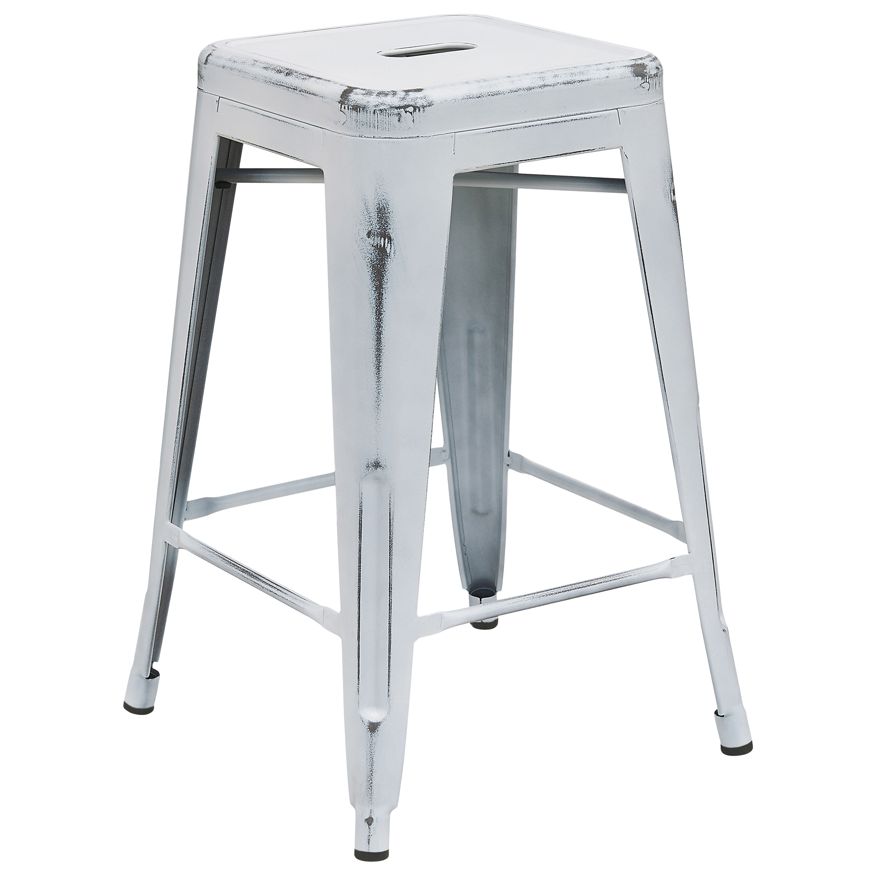Flash Furniture 24u0027u0027 High Backless Distressed White Metal Indoor Outdoor  Counter Height Stool ET BT3503 24 WH GG | StackChairs4Less.com