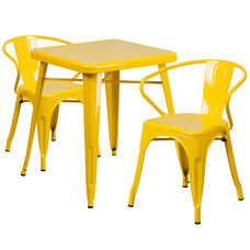 """Commercial Grade 23.75"""" Square Yellow Metal Indoor-Outdoor Table Set with 2 Arm Chairs"""