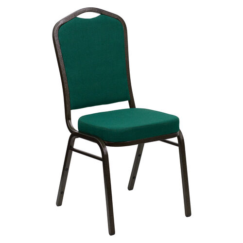 Our HERCULES Series Crown Back Stacking Banquet Chair in Green Fabric - Gold Vein Frame is on sale now.