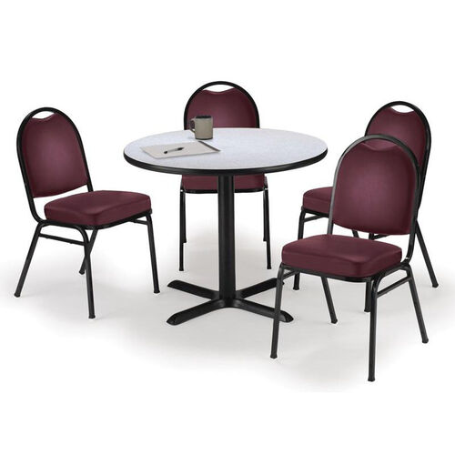 Our Round Laminate Table Set with X-Base and Burgundy Vinyl Upholstered Stack Chairs - Seats 4 is on sale now.
