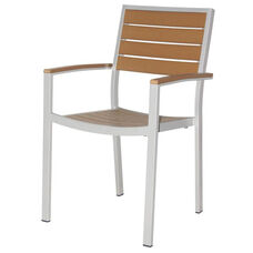 Napa Outdoor Dining Arm Chair with Teak Durawood Slat Back and Seat - Silver Powder Coat
