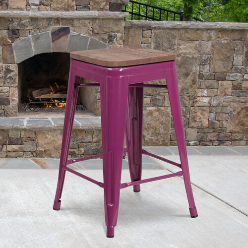 """24"""" High Backless Purple Counter Height Stool with Square Wood Seat"""