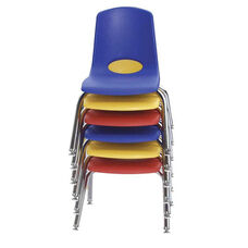 Set of Six Vented Back Stacking Chairs with Chrome Legs and Nylon Swivel Glides - Assorted Colors
