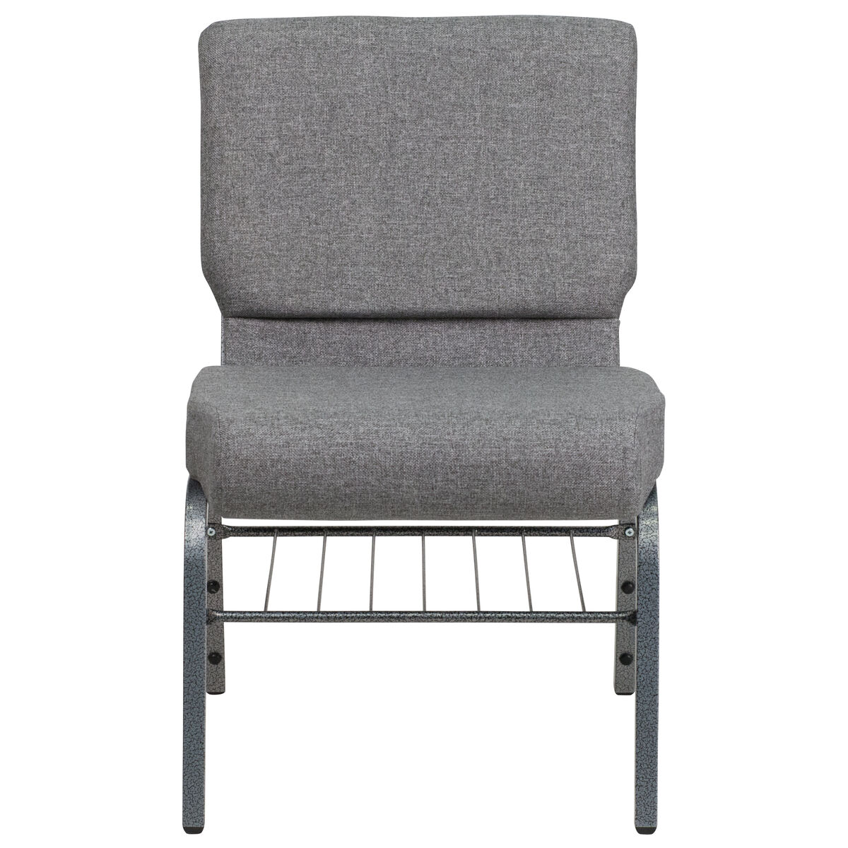 Hercules Series 21 W Church Chair In Gray Fabric With Book Rack Silver Vein Frame