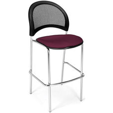 Moon Cafe Height Chair with Fabric Seat and Chrome Frame - Burgundy