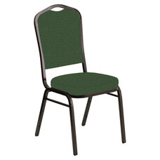 Embroidered Crown Back Banquet Chair in Fiji Aloe Fabric - Gold Vein Frame