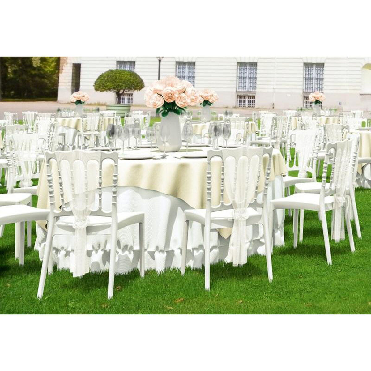 Our Napoleon Outdoor Resin Stackable Wedding Chair White Is On Now