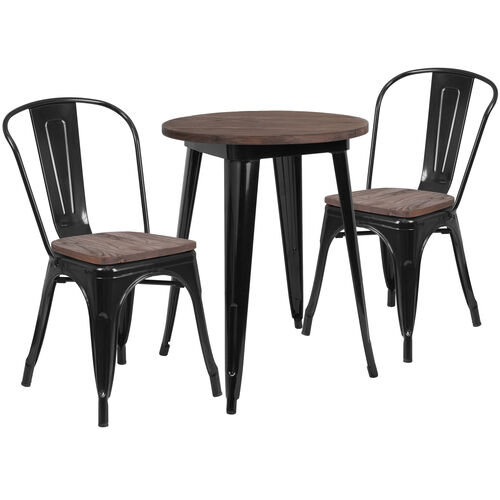 "Our 24"" Round Black Metal Table Set with Wood Top and 2 Stack Chairs is on sale now."