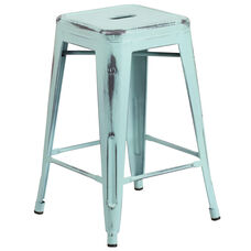 "Commercial Grade 24"" High Backless Distressed Green-Blue Metal Indoor-Outdoor Counter Height Stool"