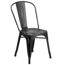 Distressed Black Metal Indoor-Outdoor Stackable Chair