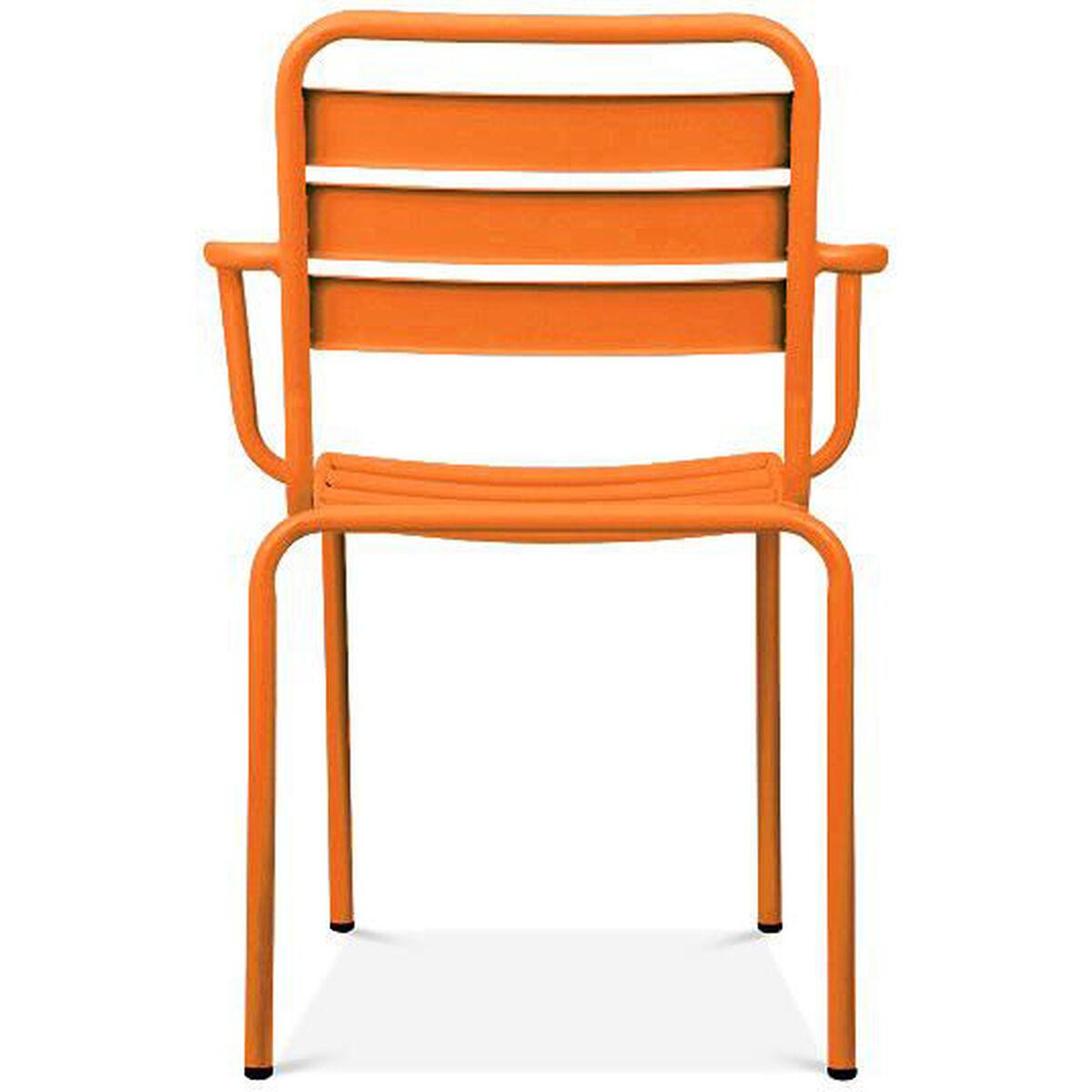 Design Lab Mn Paris Orange Metal Stackable Arm Chair Set