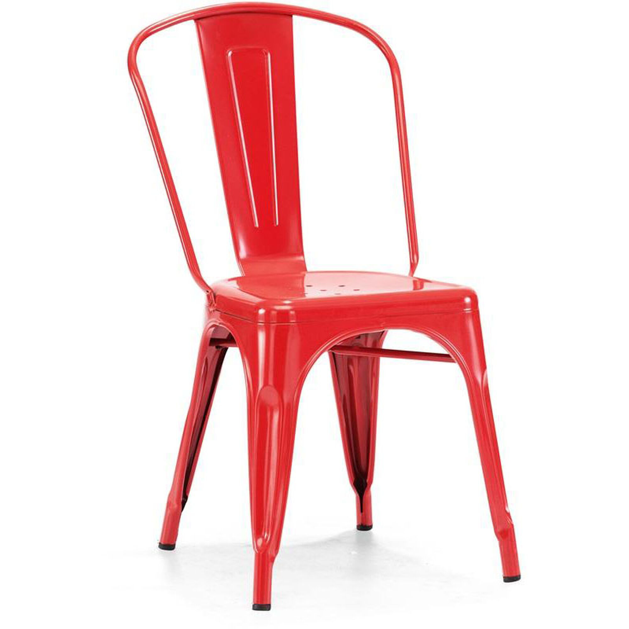 Design Lab MN Dreux Stackable Glossy Red Steel Side Chair