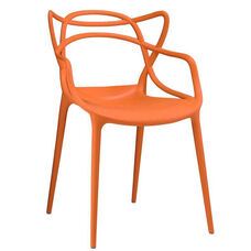 Masters Polypropylene Orange Modern Stackable Arm Chair - Set of 4