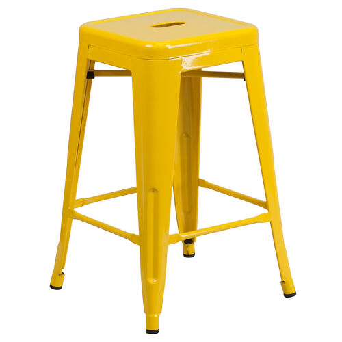 """Our Commercial Grade 24"""" High Backless Yellow Metal Indoor-Outdoor Counter Height Stool with Square Seat is on sale now."""