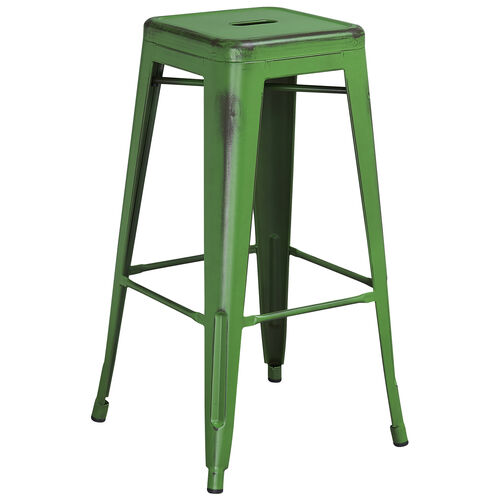 """Our Commercial Grade 30"""" High Backless Distressed Green Metal Indoor-Outdoor Barstool is on sale now."""