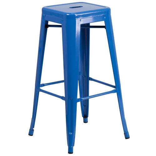 "Our Commercial Grade 30"" High Backless Blue Metal Indoor-Outdoor Barstool with Square Seat is on sale now."