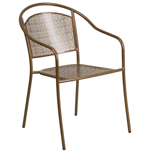Our Commercial Grade Gold Indoor-Outdoor Steel Patio Arm Chair with Round Back is on sale now.