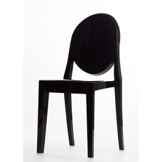 Polycarbonate Stackable Black Armless Kage Chair
